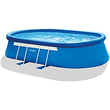 Intex 18ft x 10ft x 42in oval frame pool set with filter pump ladder ground cloth for 10ft swimming pool with pump and cover