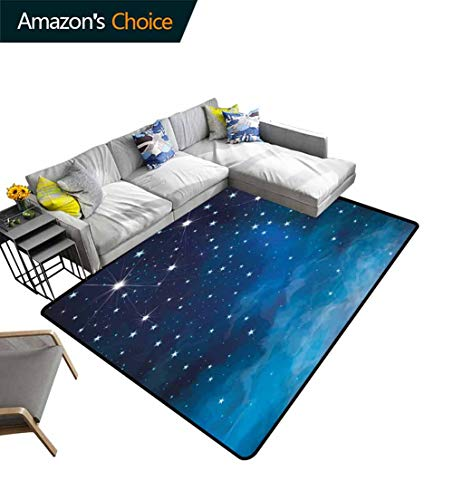 Bigdatastore Night Animals Area Rug Anti Slip Pad, Vibrant Star in Abstract Ombre Style Sky Astronomy Themed Graphic, Easy Maintenance Area Rug Living Room Bedroom Carpet(3'x 5')
