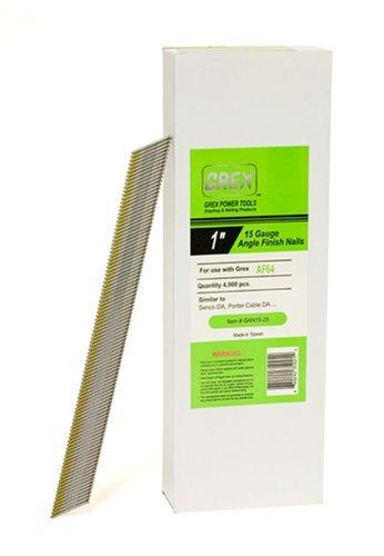 - GREX GAN15-25 15 Gauge 1-Inch Length Angle Finish Nails (4,000 per box)