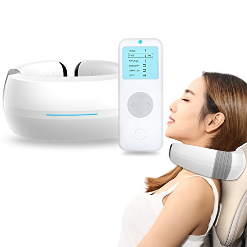 Cordless Neck Massager with Heat, Electric Pulse Functions – Adjustable Intensity Rechargeable Electric Neck Massage for Muscles Pain Relief Relax in Home Office Car
