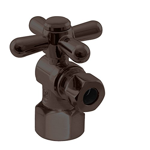Oil Rubbed Bronze Pipe Nipple - Westbrass 1/4-Turn Cross Handle Angle Stop, 1/2