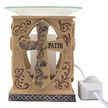 Decorative Stone Look Holy Cross Electric Oil Warmer or Tart Burner with Love, Hope & Faith Inscribed in Spiritual, Religious & Christian Decor Sculptures for Aromatherapy Essential Scented Oils or Easter Decorations As Inspirational Gifts Inscribed Cross