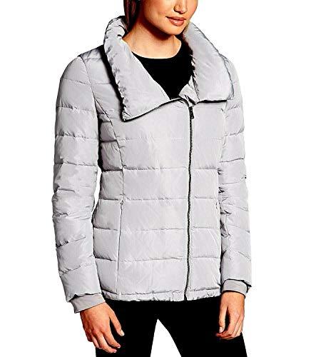 (DKNY Women Sport Asymmetrical Zip Packable Down Puffer Coat, Grey, Size L)
