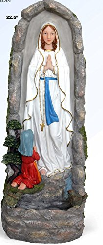 Our Lady of Lourdes 22 Inch Hand Painted Resin Outdoor Garden (Our Lady Of Lourdes Outdoor Statue)