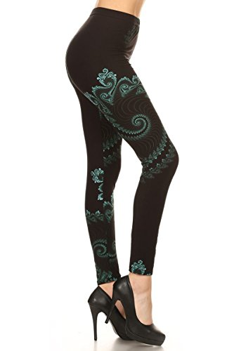 R745-OS Green Potion Print Fashion Leggings -