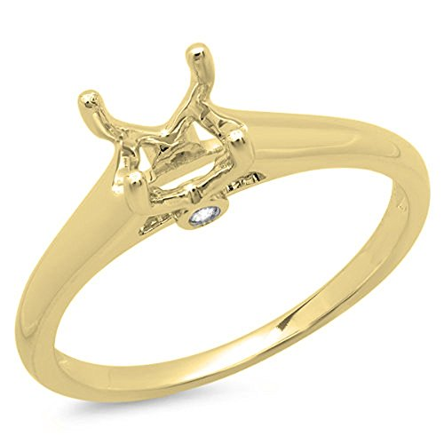 0.03 Carat (ctw) 14K Yellow Gold Round White Diamond Bridal Semi Mount Engagement Ring (Size 7) (Yellow Gold Engagement Ring Mounting)