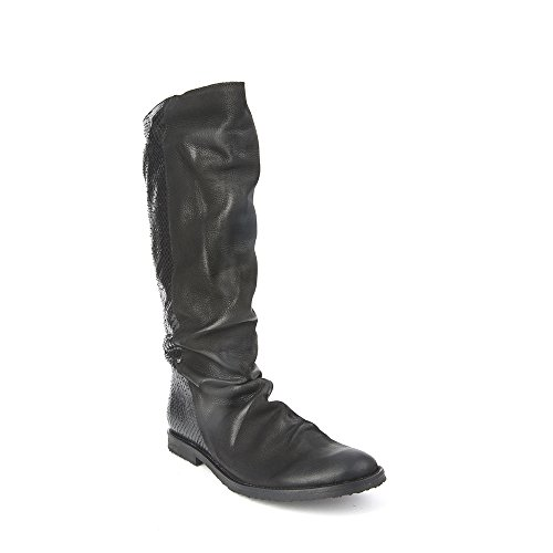 Felmini - Chaussures Femme - Tomber en amour avec Clash 9072 - Bottes Hautes Classiques - Genuine Cuir - Noir