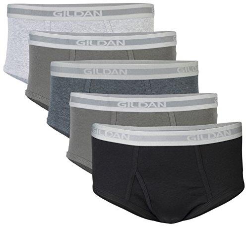 Gildan Men's Brief 6-Pack Underwear, Grey/Black, Medium by Gildan