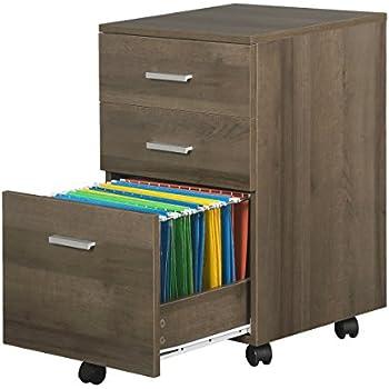 3 Drawer Wood File Cabinet With Wheels By DEVAISE In Black/Walnut/Oak(16.1u0027W15.7u0027D25.7u0027H)  (Gray Oak)