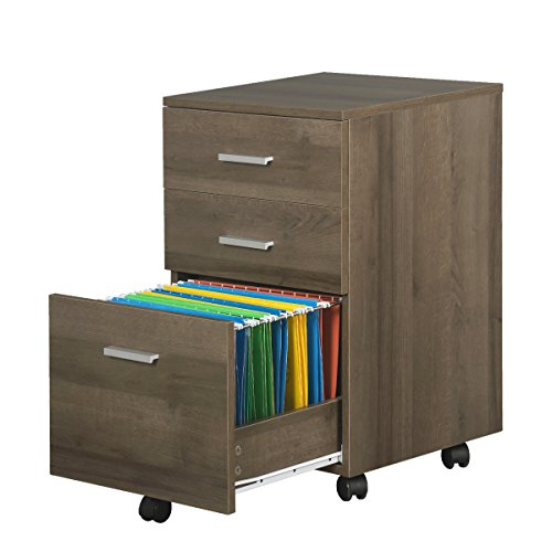 3 Drawer Wood File Cabinet with Wheels by DEVAISE in Black/Walnut/Oak(16.1'W15.7'D25.7'H) (Gray Oak)
