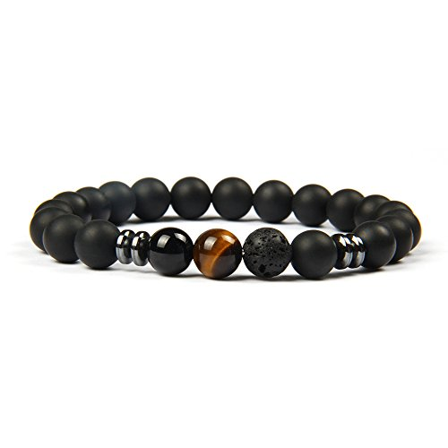 Good.Designs Chakra Pearl Bracelet Made of Onyx and Lava Stone Natural Stone Pearls (Tiger's Eye) mensbracelet ladiesbracelet Pearl Necklace Jewelry Stone women'sbracelet
