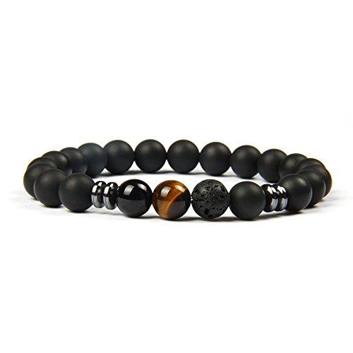Black Eye Onyx - Good.Designs Chakra Pearl Bracelet Made of Onyx and Lava Stone Natural Stone Pearls (Tiger's Eye) mensbracelet ladiesbracelet Pearl Necklace Jewelry Stone women'sbracelet