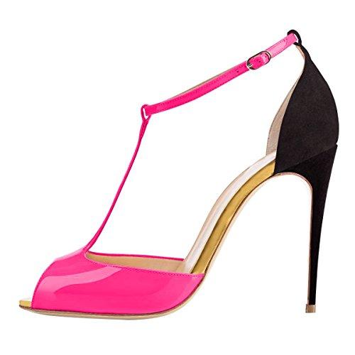 4ed861ccf2da93 Onlymaker Damen Sandalen High Heels Stiletto mit Fesselriemen T-Spangen  Peep Toe Sommer Schuhe schwarz
