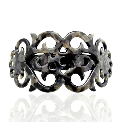 Large Arched Filigree Barrette for Women by Lorian Hair Design | French Volume Clip for Fast Buns, Ponytails, Updos (Pebble)