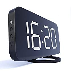 Digital Alarm Clock, Large 6.5 LED Easy-Read Night Light Dimmer Display Electric Bedroom Clock with Snooze Function, Dual USB Charger Ports, Mirror Surface