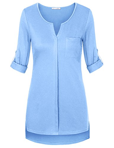 Messic Womens Cuffed Sleeve Casual
