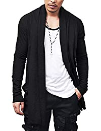Men's Ruffle Shawl Collar Cardigan Premium Cotton Blend Long Length Drape Cape Overcoat