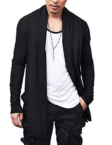 COOFANDY Men's Ruffle Shawl Collar Long Sleeves Cardigan