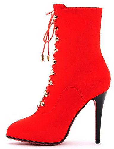 Tacones Y A Zapatos negro Casual De Uk6 Noche Xzz Cn39 us8 Mujer Sintético Uk4 Botas Botines Eu39 Eu36 Black La Vestido Tacón us6 Fiesta Red Cn3 Cn36 Moda Stiletto xAq8X8C6