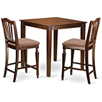 East West Furniture VNCH3-MAH-C 3 Piece Counter Height Table and 2 Chairs Set
