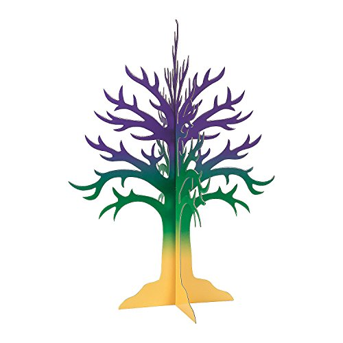 Fun Express - Mardi Gras Tree Centerpiece for Mardi Gras - Party Decor - General Decor - Centerpieces - Mardi Gras - 1 Piece -