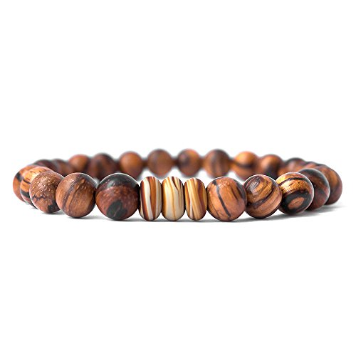 Live Allure Handmade Natural Tibetan Mala Wood Bead Bracelet - Bangle Wrist Jewelry for Men and Women - Designed by (Brown wood)