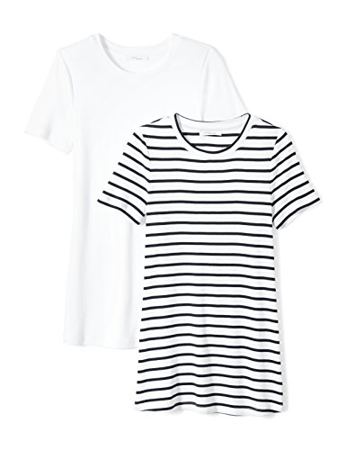 - Amazon Brand - Daily Ritual Women's Midweight 100% Supima Cotton Rib Knit Short-Sleeve Crew Neck T-Shirt, 2-Pack, Navy-White Stripe/White, Large