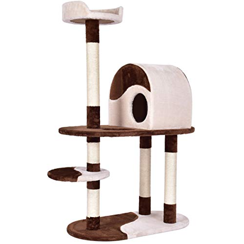 Tangkula Cat Tree, Cat Tree House Pet Furniture, Activity Cat Tower with Perches Scratching Posts, Kitten Activity Condo…