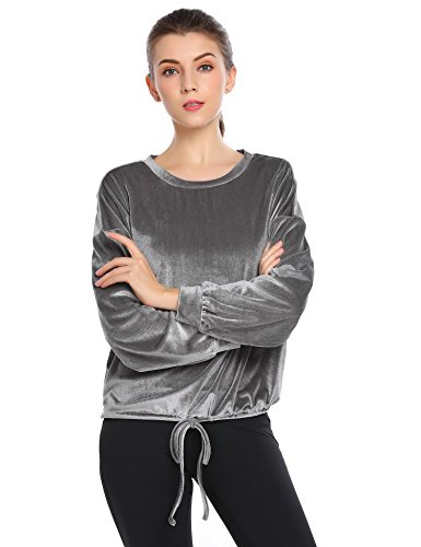 Zeagoo Women O-Neck Velvet Top Long Sleeve Drop Shoulder Casual Sweatshirt Grey XXL ()