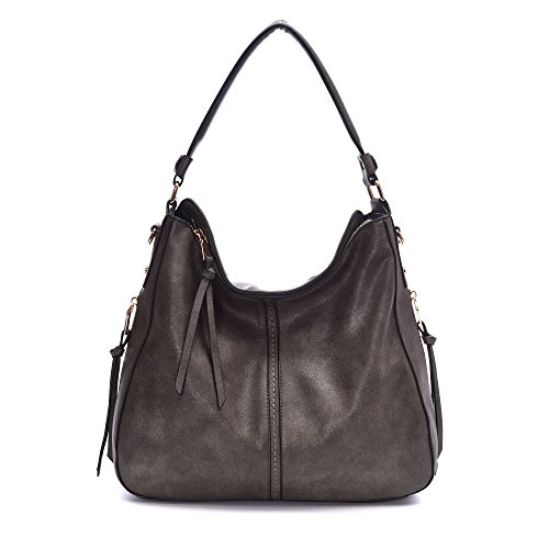 DDDH Vintage Hobo Handbags Shoulder Bags Durable Leather Tote Bags Crossbody Purses Bucket Bag For Women/Ladies/Girls(Dark - Bucket Shoulder Tote Bag