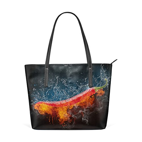 Ethel Ernest Womens Purse Cool Flaming Chili Pepper PU Leather Shoulder Tote Bag