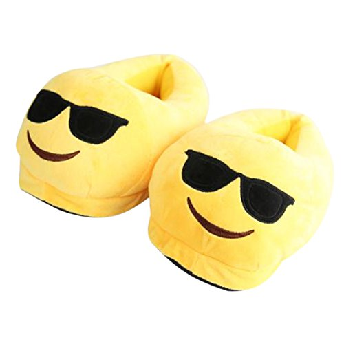 Emoji Slippers Poop Cotton Indoor Shoes, Plush Cute Anti-Slip Home Unisex Lovely Winter Shoes For Kids and Women - Sloth Sunglasses