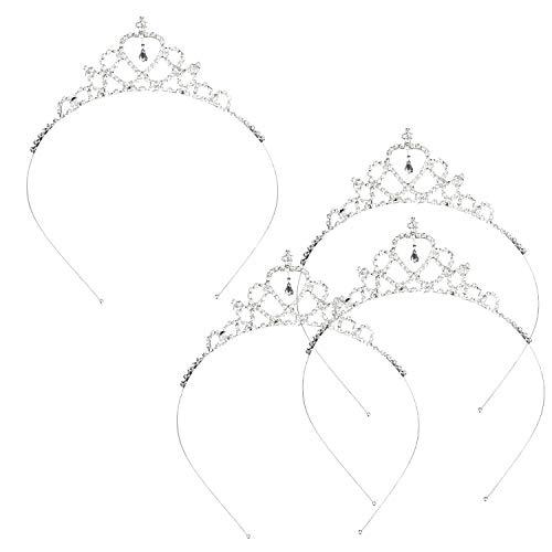 Katara® 1669 Set of 4 Wedding Tiaras Rhinestone Crowns Metal Hair Piece Jewelry for Bride, Princess, Queen, Silver ()