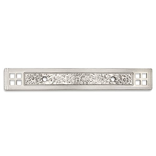 "Cosmas 10554SN Satin Nickel Hammered Cabinet Handle Pull Backplate Back Plate Hardware - 3"" Inch Hole Centers"
