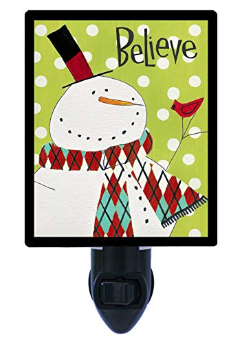 Winter and Christmas Night Light, Whimsy Winterland, Snowman, Believe