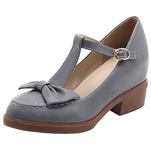 TAOFFEN Mujer Casual Cerrado Correa en T Hebilla Tacon Medio Boca Baja Zapatos Gris