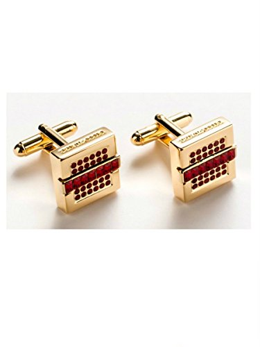 Billionaire Couture Cufflinks Gold Color Metal Red Stones with brand name by Billionaire Italian Couture