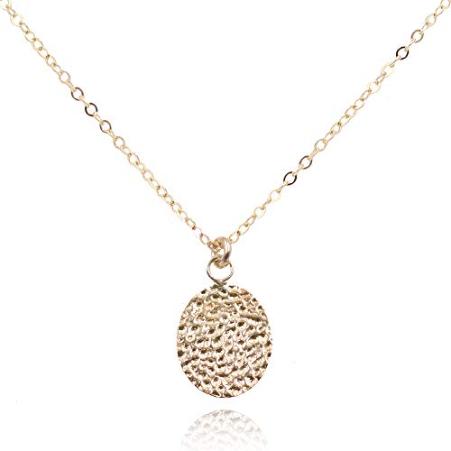 MaeMae 14K Gold Filled Hammered Moon Disc Pendant Necklace, 16-18