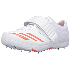 adidas Originals Adizero HJ Track Shoe, White/Infrared/Metallic Silver, 13 M US
