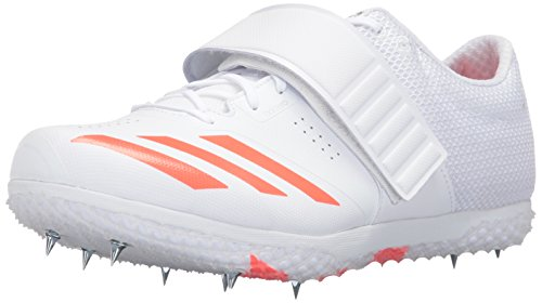 adidas Adizero HJ Track Shoe, White/Infrared/Metallic Silver, 10.5 M (Unisex Racing Shoes)