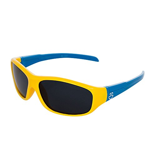 Flexible Rubber Kids Sunglasses for Boys and Girls - Bendable Unbreakable Silicone Gel Frame with Polarized Lenses - Yellow Frame & Blue Temples - by Optix - Glasses Kids Rubber