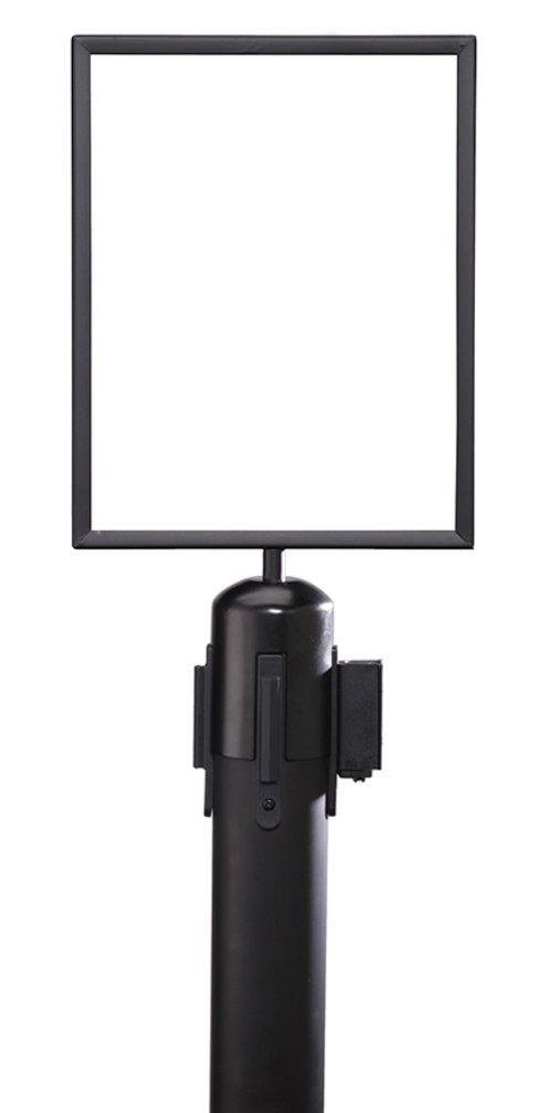 ComeAlong Industries Heavy Duty Black Vertical Sign Frame with Black Post Belt Top Adapter, 8.5'' Width x 11'' Height