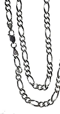 Sterling Silver Figaro Diamond Cut Chain Italian Link Necklace 4.5mm 24 Inch from ugems