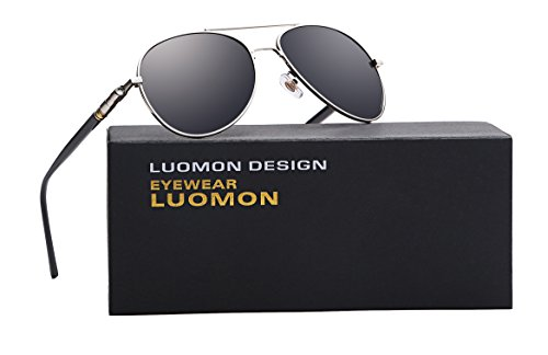 LUOMON MB209 Silver Frame/Grey Lens Polarized Aviator - Aviator Glasses Best