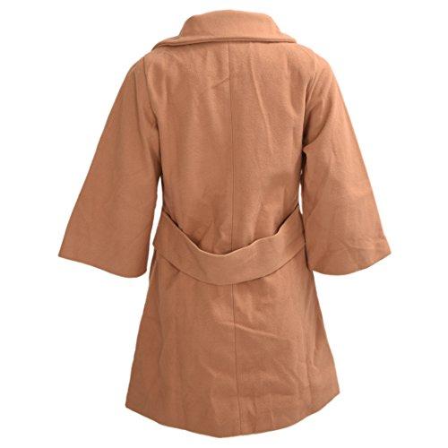 TOOGOO(R) Abrigo de solapa de volante de decoracion asimetrico delgado de mujer Camel S