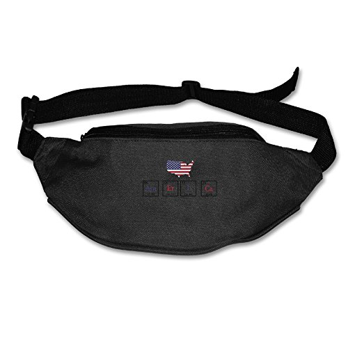 Price comparison product image Funny Chemistry USA Flag Fanny Pack Belt Bag Waist Pack Black