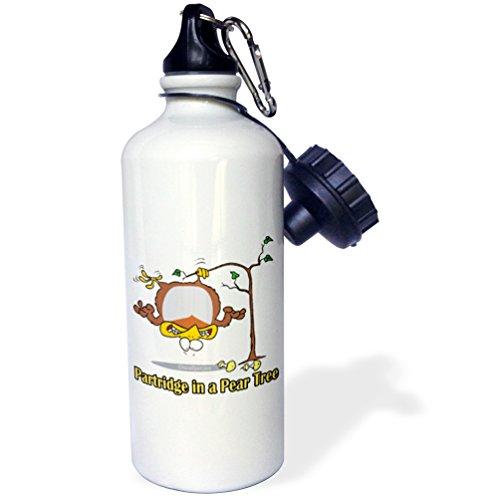 3Drose Wb 104276 1 Partridge In A Pear Tree Sports Water Bottle  21 Oz  White