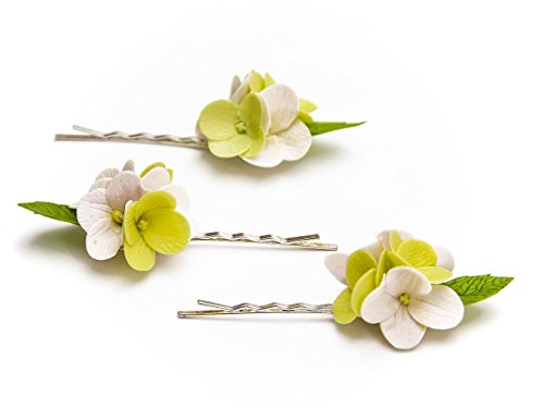 001 HANDMADE Pink hydrangea flowers Hair Pins (SET 3), Pink Hair pins, hair accessories, hairpins for children, bobby pins
