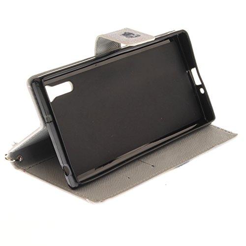 Para Sony Xperia XZ funda, (mono) caja del teléfono de la PU patrón en pintado ,Función de Soporte Billetera con Tapa para Tarjetas correa de mano soporte para teléfono lobo