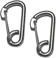"""US Stainless 2 Pieces Stainless Steel 316 Spring Hook Carabiner 3/8"""" Marine Grade Safety"""